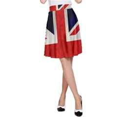 Flag Of Britain Grunge Union Jack Flag Background A-Line Skirt