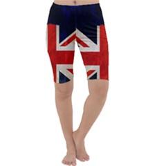 Flag Of Britain Grunge Union Jack Flag Background Cropped Leggings
