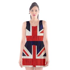 Flag Of Britain Grunge Union Jack Flag Background Scoop Neck Skater Dress