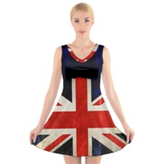 Flag Of Britain Grunge Union Jack Flag Background V Neck Sleeveless Skater Dress
