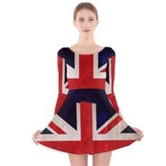 Flag Of Britain Grunge Union Jack Flag Background Long Sleeve Velvet Skater Dress