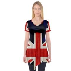 Flag Of Britain Grunge Union Jack Flag Background Short Sleeve Tunic