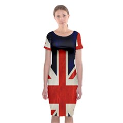 Flag Of Britain Grunge Union Jack Flag Background Classic Short Sleeve Midi Dress