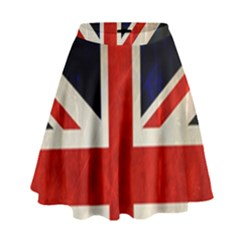 Flag Of Britain Grunge Union Jack Flag Background High Waist Skirt
