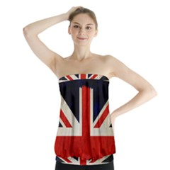 Flag Of Britain Grunge Union Jack Flag Background Strapless Top