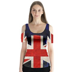 Flag Of Britain Grunge Union Jack Flag Background Butterfly Sleeve Cutout Tee