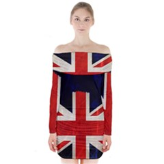 Flag Of Britain Grunge Union Jack Flag Background Long Sleeve Off Shoulder Dress