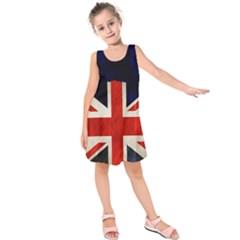 Flag Of Britain Grunge Union Jack Flag Background Kids  Sleeveless Dress