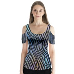 Abstract Background Wallpaper Butterfly Sleeve Cutout Tee