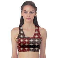 Decorative Pattern With Flowers Digital Computer Graphic Sports Bra