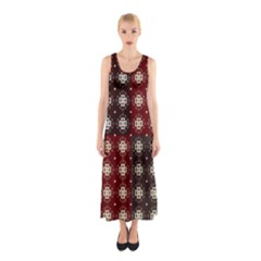 Decorative Pattern With Flowers Digital Computer Graphic Sleeveless Maxi Dress