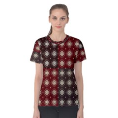 Decorative Pattern With Flowers Digital Computer Graphic Women s Cotton Tee