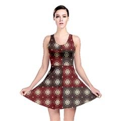 Decorative Pattern With Flowers Digital Computer Graphic Reversible Skater Dress