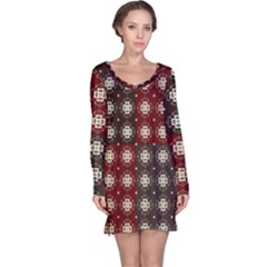 Decorative Pattern With Flowers Digital Computer Graphic Long Sleeve Nightdress