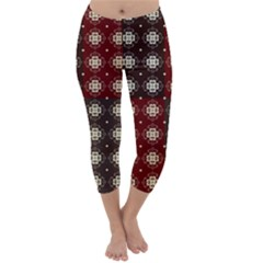 Decorative Pattern With Flowers Digital Computer Graphic Capri Winter Leggings