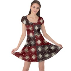 Decorative Pattern With Flowers Digital Computer Graphic Cap Sleeve Dresses
