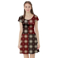 Decorative Pattern With Flowers Digital Computer Graphic Short Sleeve Skater Dress