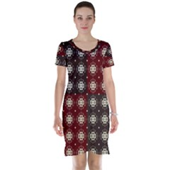 Decorative Pattern With Flowers Digital Computer Graphic Short Sleeve Nightdress