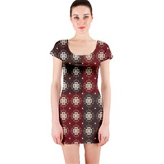 Decorative Pattern With Flowers Digital Computer Graphic Short Sleeve Bodycon Dress