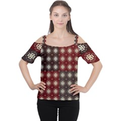 Decorative Pattern With Flowers Digital Computer Graphic Women s Cutout Shoulder Tee
