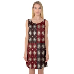 Decorative Pattern With Flowers Digital Computer Graphic Sleeveless Satin Nightdress