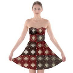 Decorative Pattern With Flowers Digital Computer Graphic Strapless Bra Top Dress