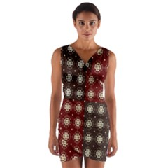 Decorative Pattern With Flowers Digital Computer Graphic Wrap Front Bodycon Dress