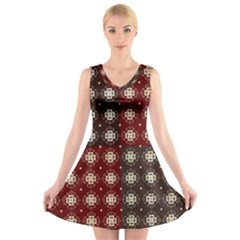 Decorative Pattern With Flowers Digital Computer Graphic V Neck Sleeveless Skater Dress