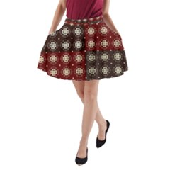 Decorative Pattern With Flowers Digital Computer Graphic A Line Pocket Skirt