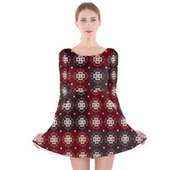 Decorative Pattern With Flowers Digital Computer Graphic Long Sleeve Velvet Skater Dress