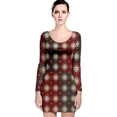 Decorative Pattern With Flowers Digital Computer Graphic Long Sleeve Velvet Bodycon Dress
