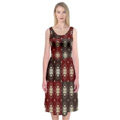 Decorative Pattern With Flowers Digital Computer Graphic Midi Sleeveless Dress