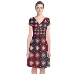 Decorative Pattern With Flowers Digital Computer Graphic Short Sleeve Front Wrap Dress