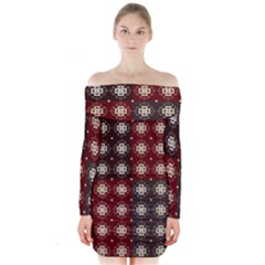Decorative Pattern With Flowers Digital Computer Graphic Long Sleeve Off Shoulder Dress