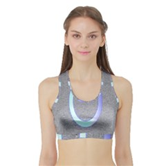 Close Up Of A Power Button Sports Bra With Border