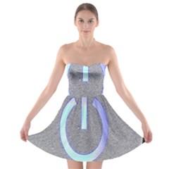 Close Up Of A Power Button Strapless Bra Top Dress