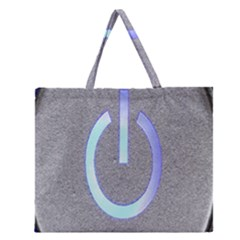 Close Up Of A Power Button Zipper Large Tote Bag