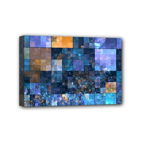 Blue Squares Abstract Background Of Blue And Purple Squares Mini Canvas 6  X 4