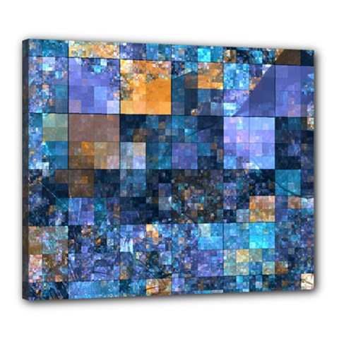 Blue Squares Abstract Background Of Blue And Purple Squares Canvas 24  x 20