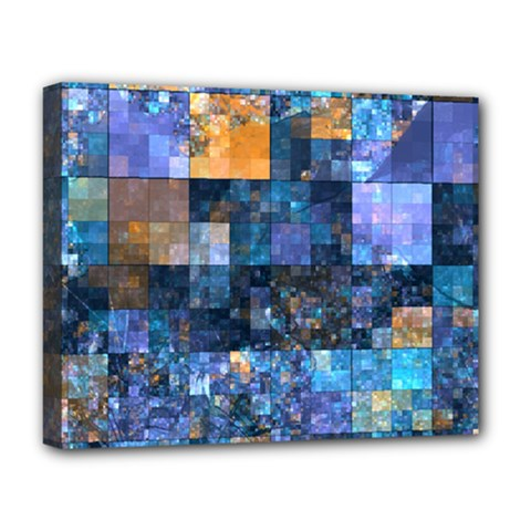 Blue Squares Abstract Background Of Blue And Purple Squares Deluxe Canvas 20  x 16