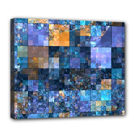 Blue Squares Abstract Background Of Blue And Purple Squares Deluxe Canvas 24  x 20