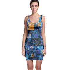 Blue Squares Abstract Background Of Blue And Purple Squares Sleeveless Bodycon Dress