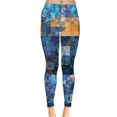 Blue Squares Abstract Background Of Blue And Purple Squares Leggings