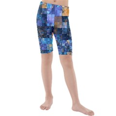 Blue Squares Abstract Background Of Blue And Purple Squares Kids  Mid Length Swim Shorts