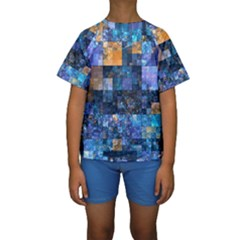 Blue Squares Abstract Background Of Blue And Purple Squares Kids  Short Sleeve Swimwear