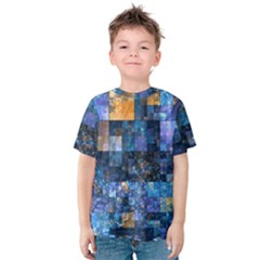 Blue Squares Abstract Background Of Blue And Purple Squares Kids  Cotton Tee