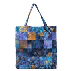 Blue Squares Abstract Background Of Blue And Purple Squares Grocery Tote Bag