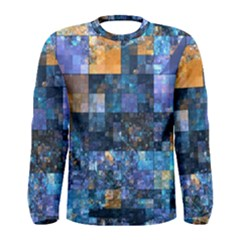 Blue Squares Abstract Background Of Blue And Purple Squares Men s Long Sleeve Tee