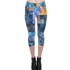 Blue Squares Abstract Background Of Blue And Purple Squares Capri Leggings