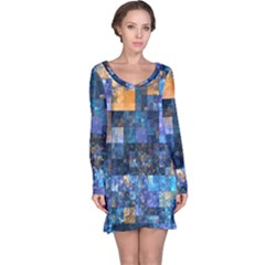 Blue Squares Abstract Background Of Blue And Purple Squares Long Sleeve Nightdress